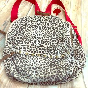 Madden Girl Leopard Backpack leather & red straps